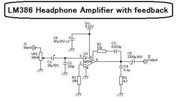 作成したLM386革命ヘッドホンアンプの回路図